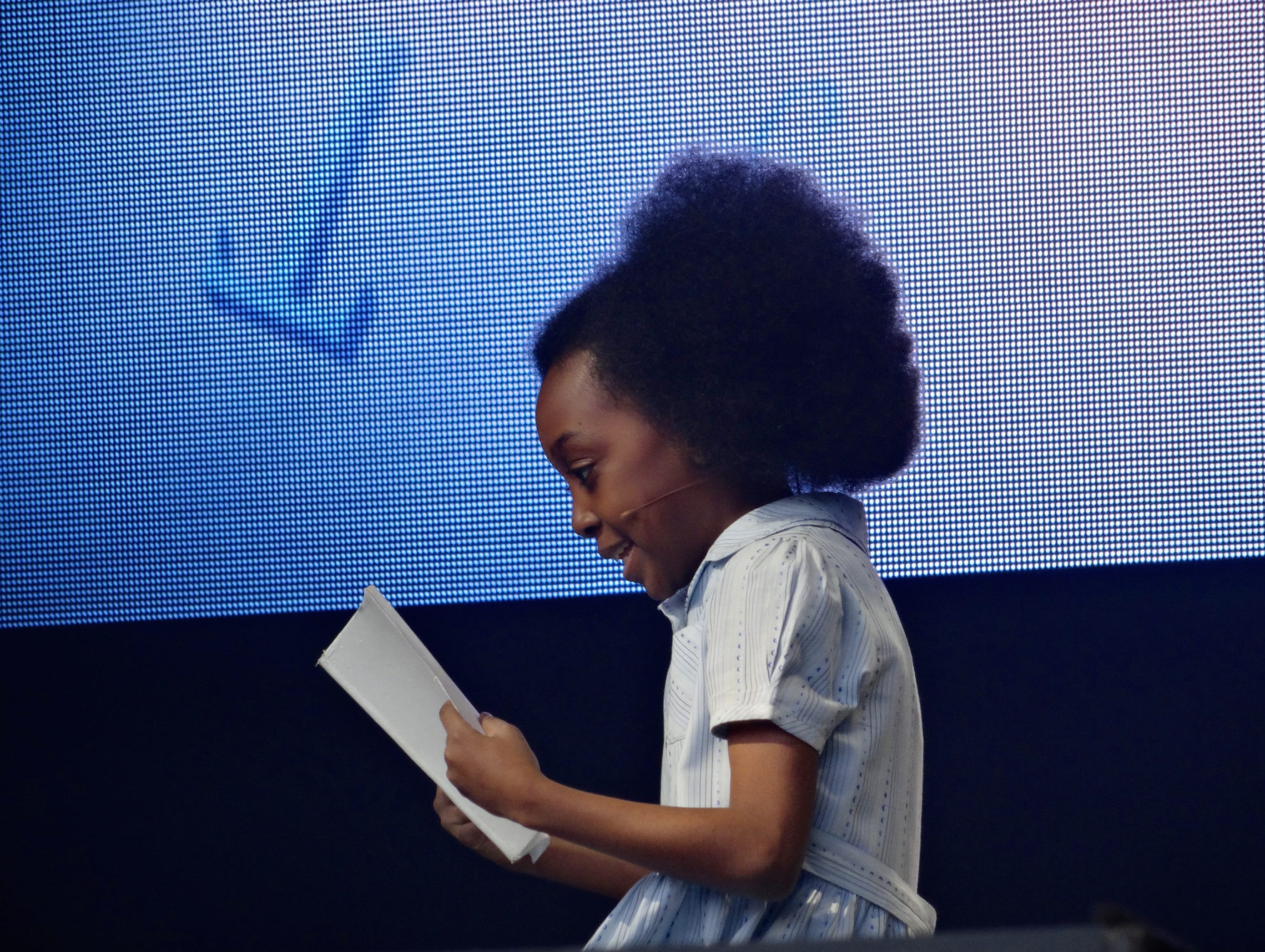 Zaris-Angel Hator as Matilda at West End Live, Photo by Amy Stutz
