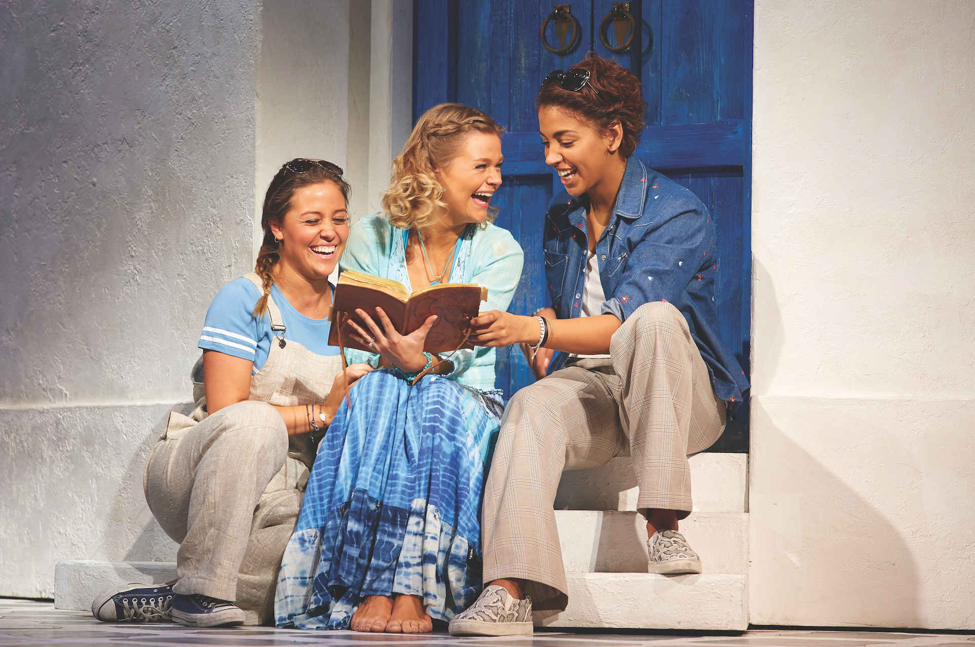 Blaise Colangelo (Lisa), Lucy May Barker (Sophie Sheridan) and Micha Richardson (Ali) in MAMMA MIA! UK Tour 2016 - 2017  Photo by Brinkhoff Mögenburg.jpg