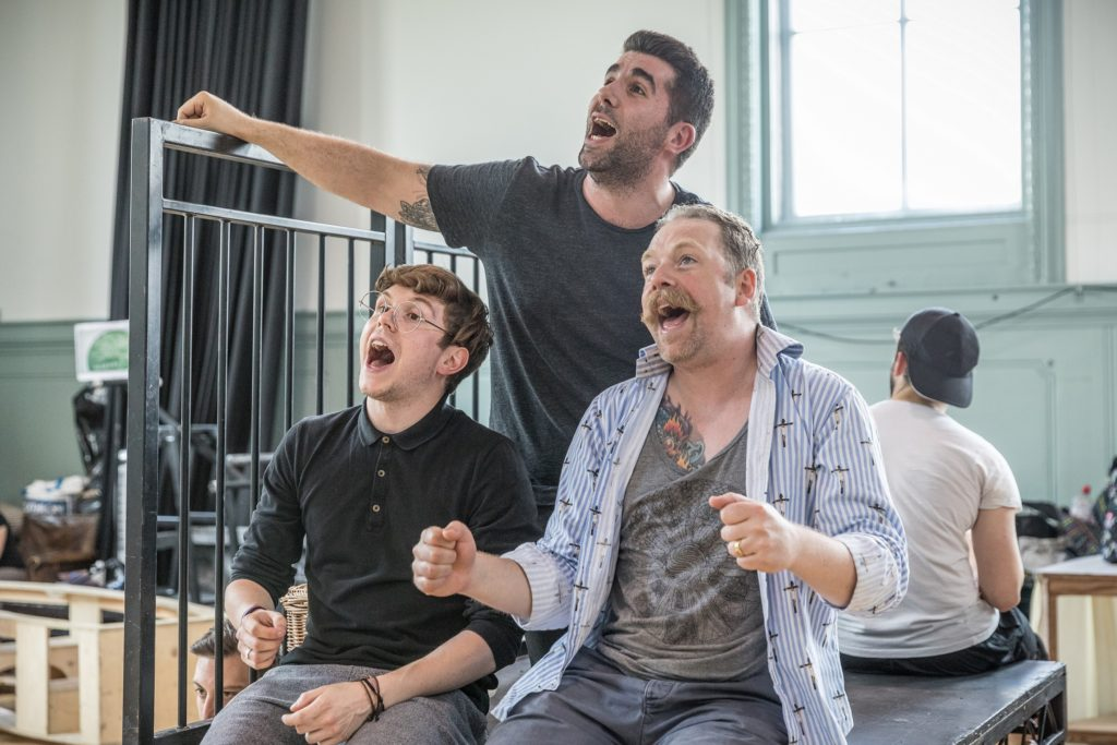 Rufus Hound Simon Lipkin and Craig Mather in rehearsals for The Wind in the Willows